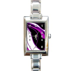 Purple Elegant Lines Rectangle Italian Charm Watch
