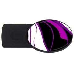 Purple Elegant Lines USB Flash Drive Oval (1 GB)