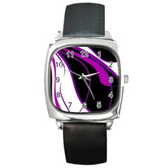Purple Elegant Lines Square Metal Watch