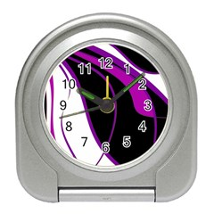 Purple Elegant Lines Travel Alarm Clocks