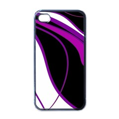 Purple Elegant Lines Apple iPhone 4 Case (Black)