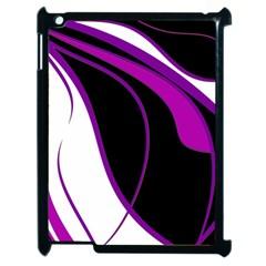 Purple Elegant Lines Apple iPad 2 Case (Black)