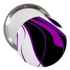 Purple Elegant Lines 3  Handbag Mirrors