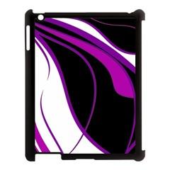 Purple Elegant Lines Apple iPad 3/4 Case (Black)