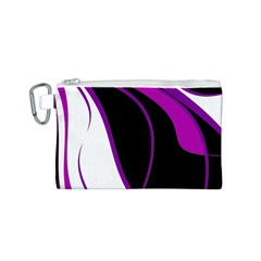 Purple Elegant Lines Canvas Cosmetic Bag (S)