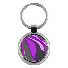 Purple Elegant Lines Key Chains (Round)