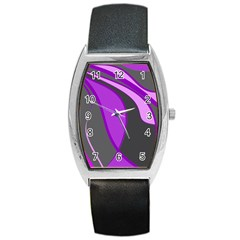 Purple Elegant Lines Barrel Style Metal Watch