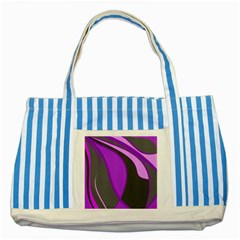 Purple Elegant Lines Striped Blue Tote Bag