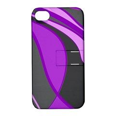 Purple Elegant Lines Apple iPhone 4/4S Hardshell Case with Stand