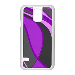 Purple Elegant Lines Samsung Galaxy S5 Case (White)
