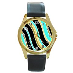 Elegant Lines Round Gold Metal Watch