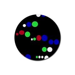 Colorful Dots Rubber Round Coaster (4 pack)