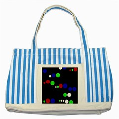 Colorful Dots Striped Blue Tote Bag
