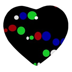 Colorful Dots Heart Ornament (2 Sides)