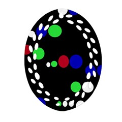 Colorful Dots Oval Filigree Ornament (2-Side)