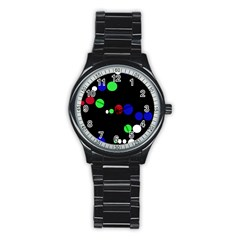 Colorful Dots Stainless Steel Round Watch