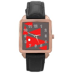 Decorative Abstraction Rose Gold Leather Watch