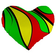 Colors Of Jamaica Large 19  Premium Heart Shape Cushions
