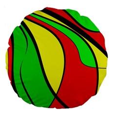 Colors Of Jamaica Large 18  Premium Flano Round Cushions