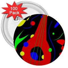 Abstract guitar  3  Buttons (100 pack)