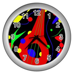 Abstract guitar  Wall Clocks (Silver)