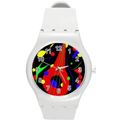 Abstract guitar  Round Plastic Sport Watch (M)