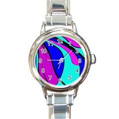 Purple and Blue Round Italian Charm Watch