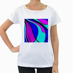 Purple and Blue Women s Loose-Fit T-Shirt (White)