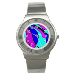 Purple and Blue Stainless Steel Watch