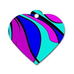 Purple and Blue Dog Tag Heart (One Side)