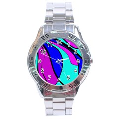 Purple and Blue Stainless Steel Analogue Watch