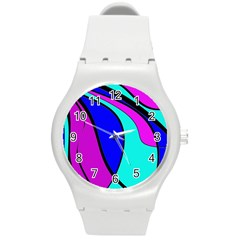 Purple and Blue Round Plastic Sport Watch (M)