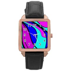 Purple and Blue Rose Gold Leather Watch