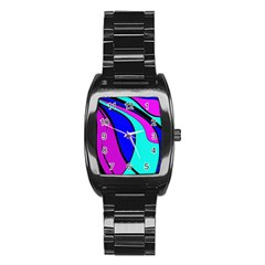 Purple and Blue Stainless Steel Barrel Watch