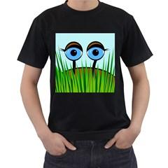 Snail Men s T-Shirt (Black) (Two Sided)