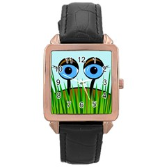 Snail Rose Gold Leather Watch