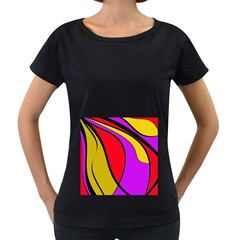 Colorful lines Women s Loose-Fit T-Shirt (Black)