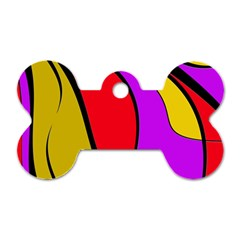 Colorful Lines Dog Tag Bone (one Side)