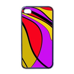 Colorful lines Apple iPhone 4 Case (Black)