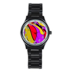 Colorful lines Stainless Steel Round Watch