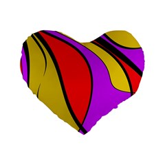 Colorful lines Standard 16  Premium Flano Heart Shape Cushions