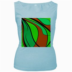 Green and orange Women s Baby Blue Tank Top