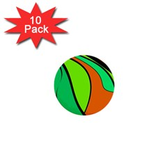 Green and orange 1  Mini Buttons (10 pack)
