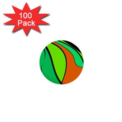 Green and orange 1  Mini Buttons (100 pack)