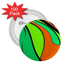 Green and orange 2.25  Buttons (100 pack)