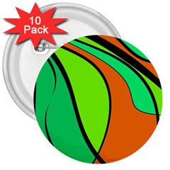 Green and orange 3  Buttons (10 pack)