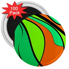Green and orange 3  Magnets (100 pack)