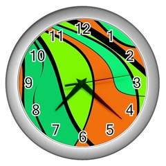 Green and orange Wall Clocks (Silver)