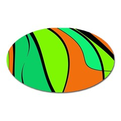 Green and orange Oval Magnet