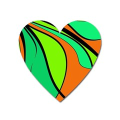 Green And Orange Heart Magnet